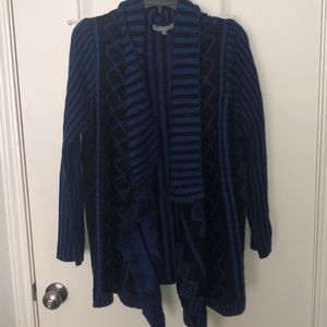 NY COLLECTION NAVY AND BLACK CARDIGAN